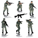 Soldiers. Set of editable silhouettes of modern soldiers. Vector illustration Royalty Free Stock Image