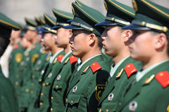Soldiers stand guard in Tiananmen area. BEIJING - NOV 8: Soldiers stand guard in Tiananmen area during China's 18th National Congress on November 8, 2012 in Stock Images