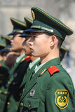 Soldiers stand guard in Tiananmen area Royalty Free Stock Photo