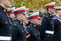 Soldiers stand to attention a the rememberance Day Stock Photos