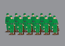 Soldiers Standing at Attention Vector Illustration Royalty Free Stock Photos