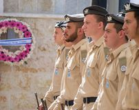 Soldiers stands guard at ceremony on Memorial Day Stock Photo