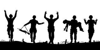 Soldiers surrendering. Editable vector silhouettes of a troop of defeated soldiers surrendering Royalty Free Stock Images