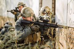 Soldiers team patrol the area. Operator team  patrol the area Stock Photography