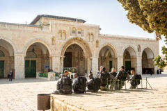 Soldiers on Temple Mount in front of Al Aqsa mosque. Stock Photos