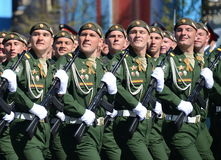 Soldiers of the 38th separate railway brigade at the dress rehearsal of parade on red square in honor of Victory Day. Royalty Free Stock Photos