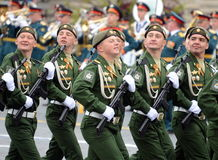 Soldiers of the 38th separate railway brigade during a parade in red square in honor of Victory Day. Royalty Free Stock Photo