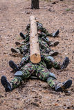 Soldiers trained in the forest. Group of soldiers lying on ground with log in hands Royalty Free Stock Image