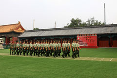 Soldiers are trained in Tiananmen national flag guard training b Royalty Free Stock Image
