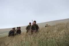 Soldiers training in the Brecon Beacons, South Wales Royalty Free Stock Images