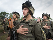 Soldiers at training Center of National Guard of Ukraine Stock Photos