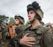 Soldiers at training Center of National Guard of Ukraine Royalty Free Stock Photos