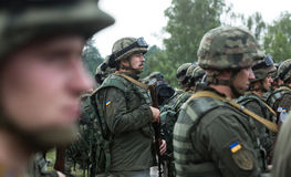 Soldiers at training Center of National Guard of Ukraine Stock Photography