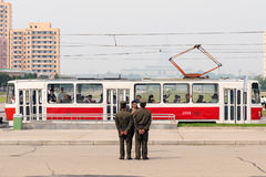 Soldiers and tram in Pyongyang, North Korea Stock Images