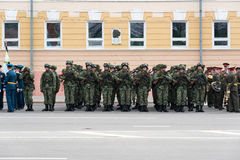 Soldiers in uniform are at rehearsal of Military Parade Royalty Free Stock Photo