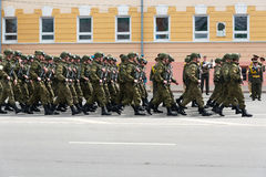 Soldiers in uniform are at rehearsal of Military Parade Royalty Free Stock Photography