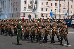 Soldiers in uniform are at rehearsal of Military Parade Royalty Free Stock Image
