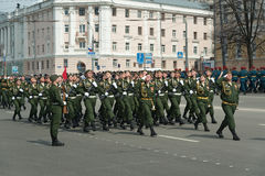 Soldiers in uniform are at rehearsal of Military Parade Stock Images