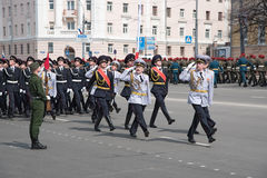 Soldiers in uniform are at rehearsal of Military Parade Stock Photography