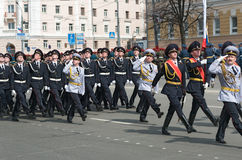 Soldiers in uniform are at rehearsal of Military Parade Royalty Free Stock Images