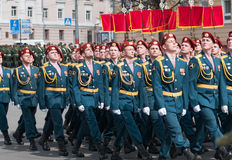 Soldiers in uniform are at rehearsal of Military Parade Stock Image