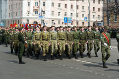 Soldiers in uniform are at rehearsal of Military Parade Stock Photos