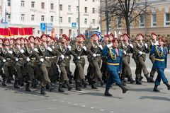 Soldiers in uniform are at rehearsal of Military Parade Royalty Free Stock Photos