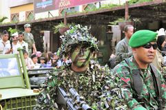 Soldiers in uniform, Yogyakarta city festival. Yogyakarta, Indonesia - 11 October 2014:  258th city anniversary - Soldiers dressed in Indonesian military Royalty Free Stock Images