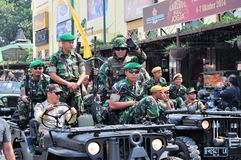 Soldiers in uniform, Yogyakarta city festival. Yogyakarta, Indonesia - 11 October 2014:  258th city anniversary - Soldiers dressed in Indonesian military Royalty Free Stock Image