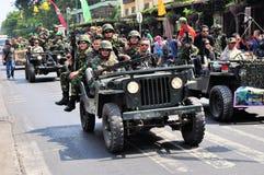 Soldiers in uniform, Yogyakarta city festival Royalty Free Stock Image