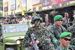 Soldiers in uniform, Yogyakarta city festival Stock Image