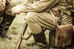 Soldiers in uniforms of World War II.  stock image