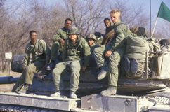 Soldiers From the United States Army Tank Corps Sitting on Tank, Kansas Royalty Free Stock Image