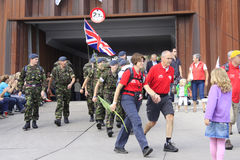 Soldiers of various nationalities participate in the walking event Stock Image