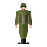 Soldiers. Vector illustration of a military man. Army clothing, Royalty Free Stock Image