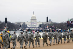 Soldiers walk in front of Capitol building during Inauguration o Royalty Free Stock Photo