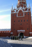 Soldiers walk in Moscow Kremlin. UNESCO World Heritage Site. stock images