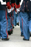 Soldiers walking away. Soldiers in historic croatian guard uniform march during festival parade in Varazdin, Croatia stock images