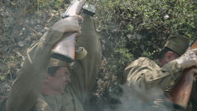 The soldiers in the war. Courageous soldiers in the war stock video footage
