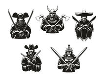 Soldiers or warriors man ammunition vector icons. Warriors or soldiers icons of weapon ammunition. Vector ancient viking hatchet axes, filibuster musketeer stock illustration