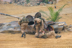 Soldiers on a wartime exercise Stock Images