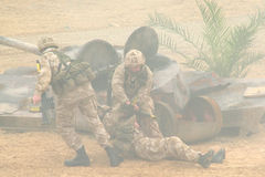 Soldiers on a wartime exercise Royalty Free Stock Image