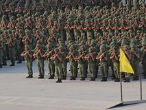 Soldiers with weapons !. A platoon of soldiers marching Royalty Free Stock Photo