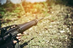 Soldiers and weapons M16 Soldiers and weapons M16 stock photography