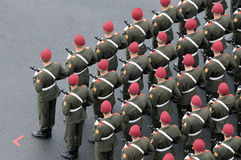 Soldiers wearing red berets. Royalty Free Stock Photography