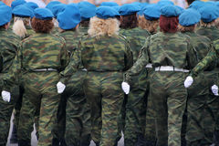 Soldiers of the woman. On military parade Royalty Free Stock Images