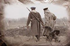 Soldiers of WWI. Reenacting Civil War in Russia. 1918. Kiev,Ukraine Royalty Free Stock Image