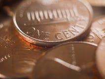 1 soldo USD della moneta del centesimo fotografia stock libera da diritti
