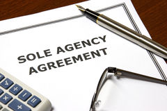 Sole Agency Agreement Royalty Free Stock Images