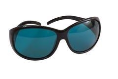 Sole blu degli occhiali degli occhiali da sole isolato su bianco Fotografia Stock Libera da Diritti